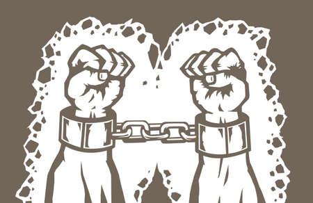 ceppi: Disegno delle mani di un uomo in catene Vettoriali