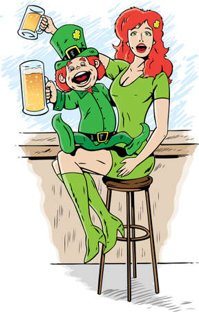 Leprechaun drinking on st. patty's day.