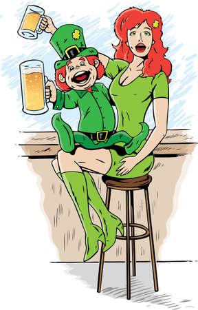 Leprechaun drinking on st. patty's day. Stock Vector - 8977622