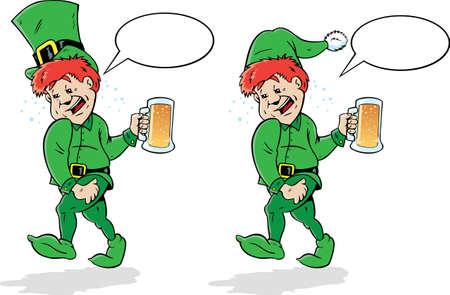 Drunk Leprechaun or Elf. Vector