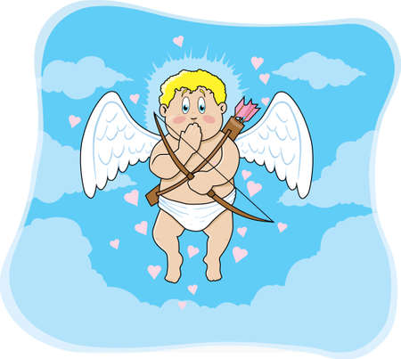 floating: Floating cupid who is extremely embarrassed