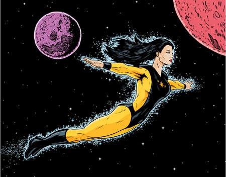 superheroine flight  Иллюстрация