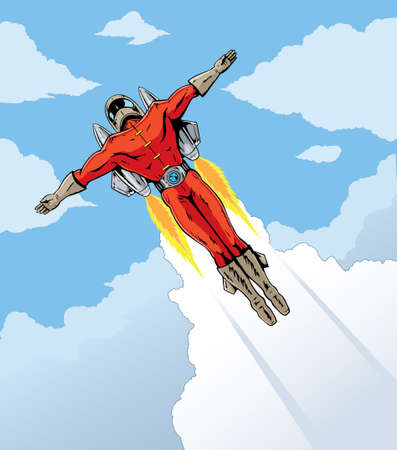 Flying man with rocket pack! Illustration