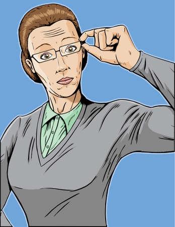 evaluating: Stern librarian, adjusting her glasses. Illustration