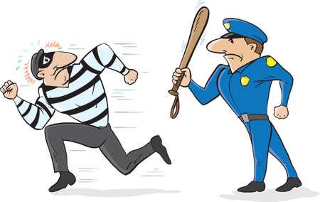 Cartoon van een politieagent schrikken weg een inbreker Vector Illustratie
