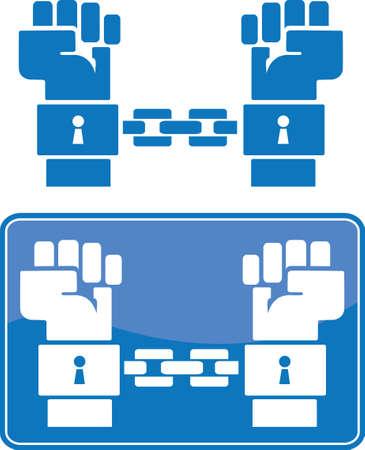 geketend: Geboeid handen