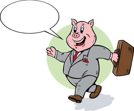 Cartoon pig walking and talking. Ilustracja
