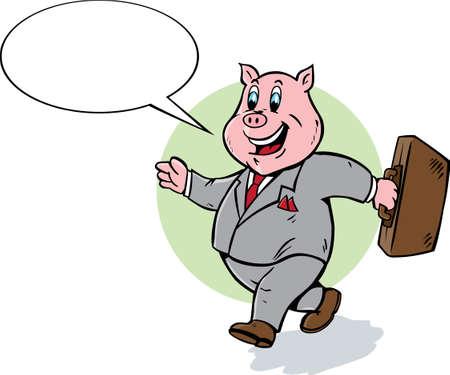 Cartoon pig walking and talking. Vector