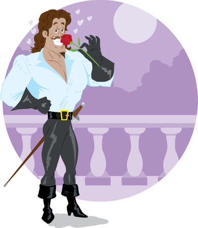 conquistador: Swashbuckler smelling a rose lovingly on a balcony Illustration