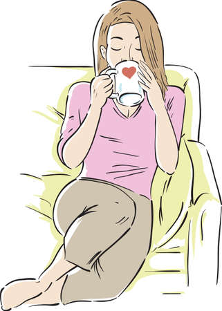 Girl drinking coffee or tea and relaxing