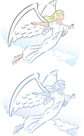 heaven: Stylized angel, flying or floating through the clouds.  Illustration