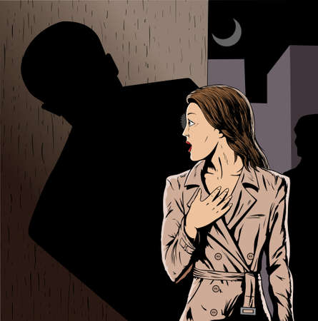 mugger: Cartoon of a girl being stalked