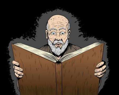 Wizard reading his spellbook