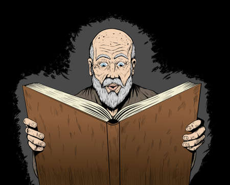 Wizard reading his spellbook Vector