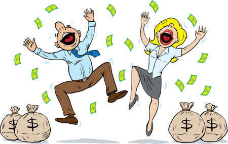 cartoon money: Couple winning a lot of money Illustration