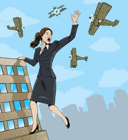 attacking: Mujer de negocios gigante.
