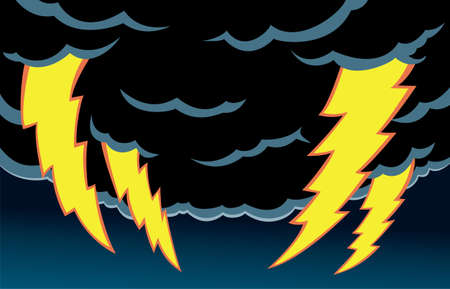 Cartoon of thunder clouds with scary lightning.