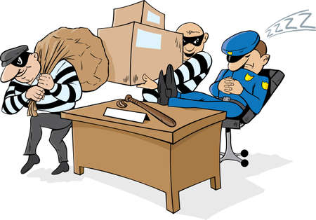 office theft: GuardPoliceman napping while thieves steal stuff.