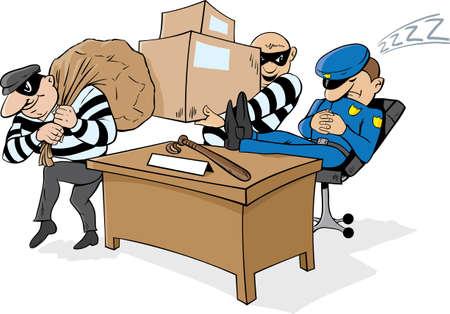 robando: Guardiapolic�a siestas mientras ladrones robar cosas.