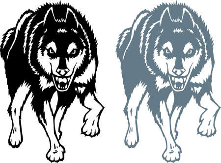 growling: Two different versions of a stylized wolf  Illustration