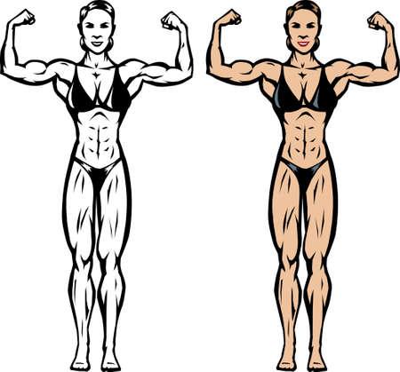 bicep: Dibujo estilizado de un competidor de gimnasioculturista  Vectores