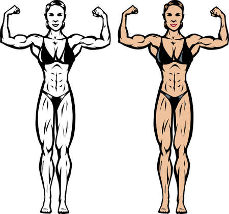 strong: Stylized drawing of a fitnessbodybuilder competitor