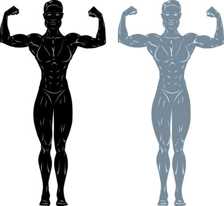 Stylized drawing/statues of a fitness/bodybuilder competitor