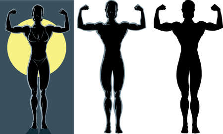 strong: Drawing of an back lighted of a female bodybuilder  Illustration