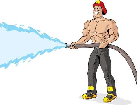 Sin camisa, apuesto bombero con una manguera de bomberos. Ilustración de vector