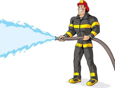 Apuesto bombero con una manguera de incendios.
