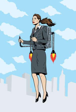 donna volante: Business donna volare con un pacchetto razzo
