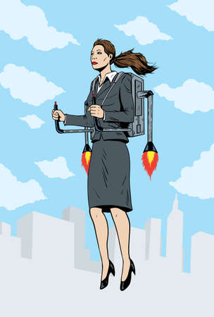 Business woman flying with a rocket pack  Ilustrace