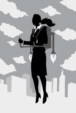 hovering: Outline of a businessman flying with a rocket pack