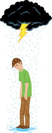 Sad guy beneath a rain cloud. Vectores