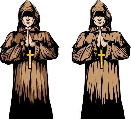2 versions of a monk praying. Illustration