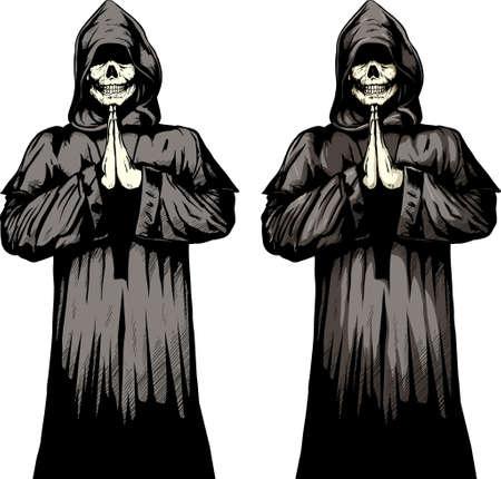 2 versies van een undead monnik bidden.