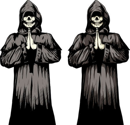 2 versions of a undead monk praying. Vector