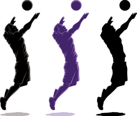 Three different version of an outline of a Volleyball player Çizim