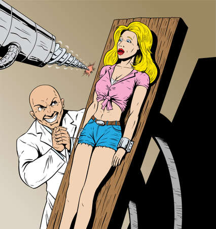 breast comic: Girl captured by evil scientist and in danger.