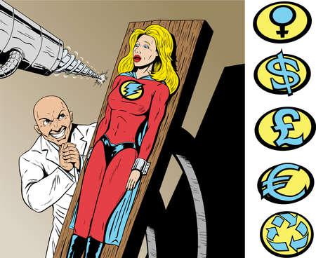 breast comic: Superhero captured by evil scientist and in danger. Illustration