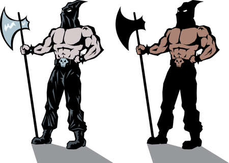 Two versions of a stylized executioner