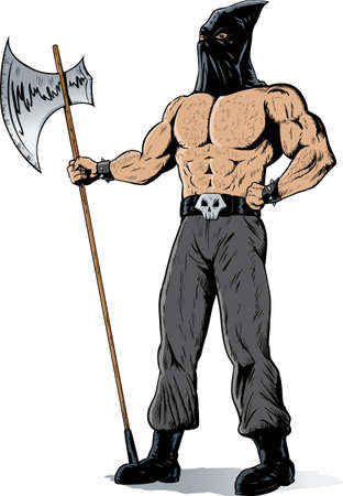execute: Drawing of a muscular executioner