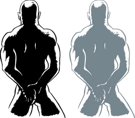 naked man: Dibujo de un hombre desnudo, posiblemente atado