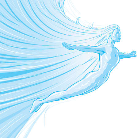 woman flying: Drawing of a flying ice princess Illustration
