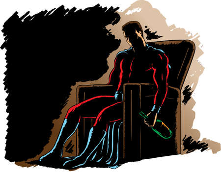 Alcoholic Superhero, slumped in a chair