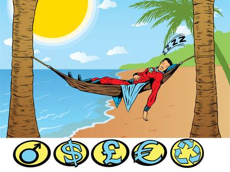 Superhero relaxing, taking a holiday. Stock Vector - 10044076