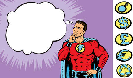 Superhero deep in thought. With vector, symbols are on a separate layer and can be altered.
