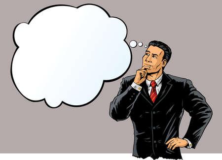 man thinking: Homme d'affaires dans la pens�e profonde. Illustration