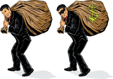 Businessman stealing a lot of money. Mask and money symbol are on different layers and can be easily removed. Vector