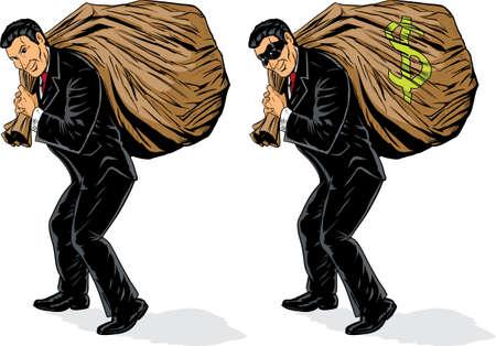 mucho dinero: Empresario robando un mont�n de dinero. S�mbolo de m�scara y dinero est�n en capas diferentes y pueden eliminarse f�cilmente. Vectores